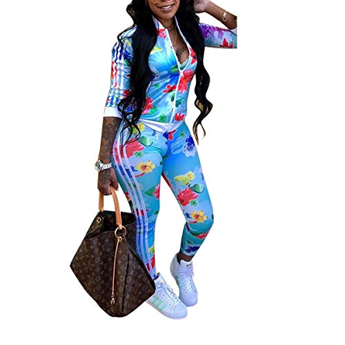 - Two Piece Tracksuit Stripes Flower Print Zip Up Crop Tops Blazer Playsuit Blue S