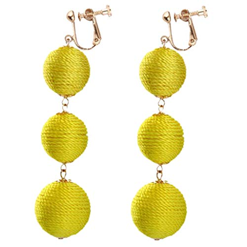 Fashion Boho Clip-on Dangle Earrings Round Ball Beads with Rope Gold Plated Yellow Pink Green Red Colors