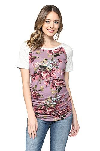LaClef Women's Maternity T-Shirts Top with Baseball Raglan (Lilac/L Grey Short, ()