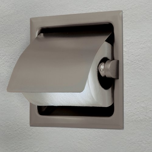 Image of Gatco 786 Recess 6-1/4-Inch Square Toilet Paper Holder with Cover, Satin Nickel