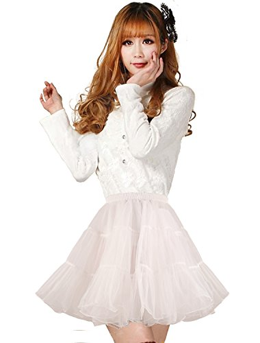 - Shimaly Women's Short Length Petticoat Above Knee Underskirt Half Slip Crinoline (S-M, Ivory)