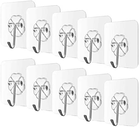 Begonia.Ok 10PCS Waterproof Adhesive Hooks Heavy accountability 22lbs Shower hooks Self Adhesive Hook Transparent Hooks for Keys Bathroom Shower Outdoor Kitchen Door Home Improvement