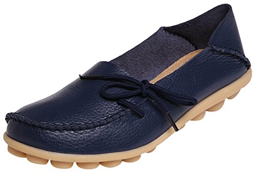 Serene Womens Leather Cowhide Casual Lace Up Flat Driving Shoes Boat Slip-On Loafers (9B(M)US, Dark Blue)