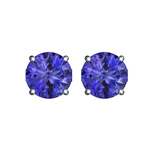 Vs1 Earring (Belinda Jewelz 925 Sterling Silver Solitaire 5 mm Round June Birthstone Earrings Classic Fine Prong CZ Gemstone Timeless Jewelry Accessory Stud Earring, 1.2 Carat Tanzanite Purple Cubic Zirconia)