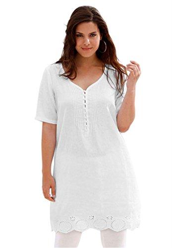 Ellos Women's Plus Size Top, Tunic Length With Eyelet Trim (White,22 W)