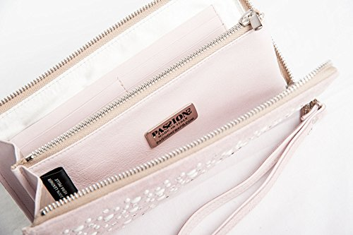 Agata - Passione Bags - Borsa pochette da donna in pelle a mano color rosa antico con mezze perle e Swarovski - Made in Italy