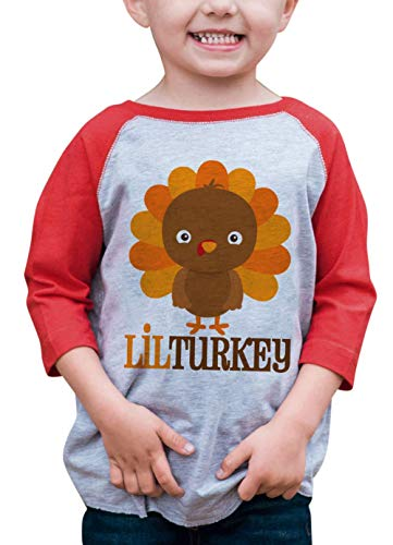 7 ate 9 Apparel Baby Boy's Little Turkey Thanksgiving 2T Red Raglan