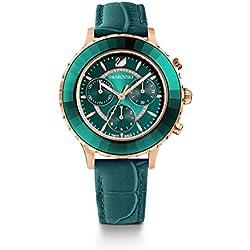 SWAROVSKI Women's Women's Octea Lux Chrono Rose Gold Quartz Watch with Leather Strap, Green