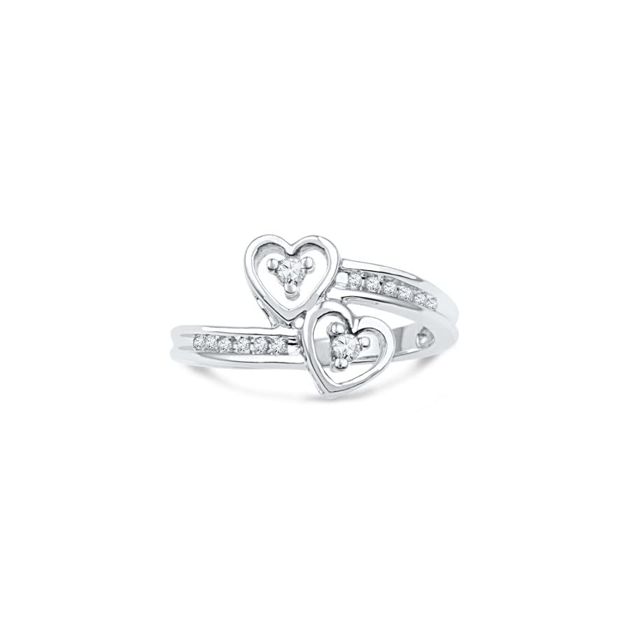 Sterling Silver Round Diamond Double Heart Promise Ring (1/10 Cttw)
