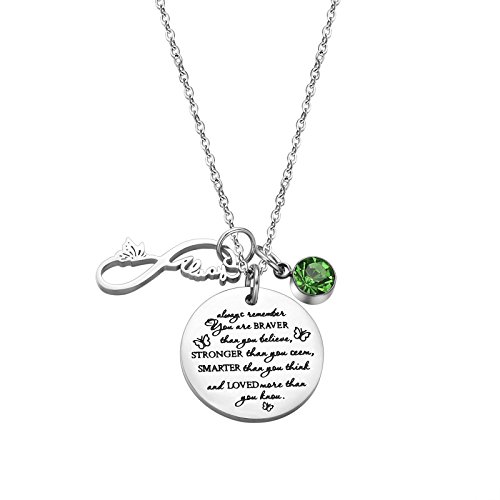 Fullrainbow You are Braver Than You Believe Stainless Steel August Birthstone Necklace Gift for Girls