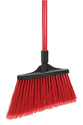 O'Cedar Commercial 91365 MaxiSweep Angle Broom, Flagged Bristles, Red Fiberglass Handle (Pack of 4)