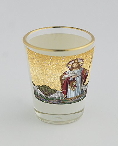 [Shot glass with gold rim of Art , Christ , Christian , Christianity , Divine , famous-people , God , Jesus , Religion , Sheep , Shepherd ,] (Famous People With Glasses)