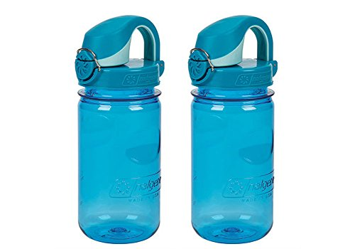Nalgene OTF Kids / Children's, Plain Blue 12oz Water Bottle - Blue and White Cap - 2 Pack 3 Inches in Diameter By 7.5 Inches Tall.