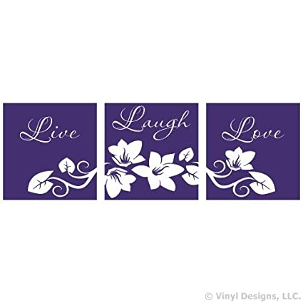 Live Laugh Love Flower Vinyl Wall Decal Sticker Art, Removable Home Decor, Purple