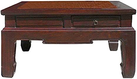 Amazon Com Chinese Square Bamboo Top Four Drawers Access Coffee Table Awk2629 Kitchen Dining