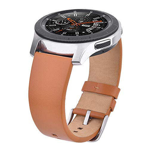 V-MORO Brown Band Compatible with Galaxy Watch 46mm Bands/Gear S3 Strap 22mm Leather Wristbands with Stainless Steel Buckle for Samsung Galaxy Watch 46mm R800/Gear S3 Classic/S3 Frontier Smartwatch