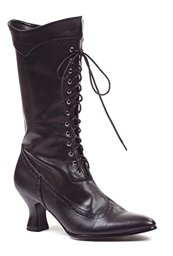 Lady Pirate Boots (Ellie Shoes Women's Amelia Victorian Boots Black Polyurethane Vintage Ankle Boot with Zipper 9 B(M))
