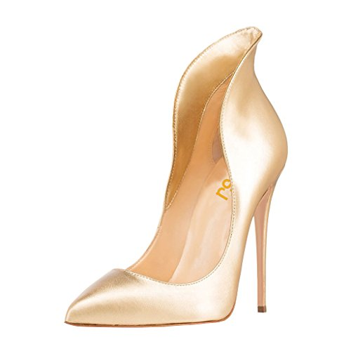 Sexy Gold Shoes (FSJ Women Sexy Prom Pumps Pointy Toe High Heels Dress Shoes Stilettos Size 9.5 Gold)