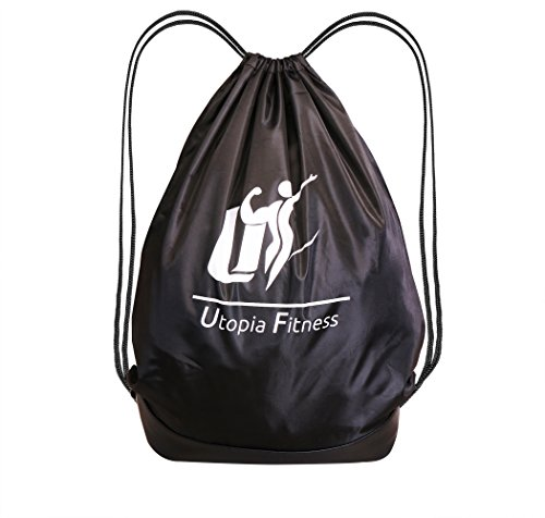 Drawstring Backpack Bag (Black) - Sport Gym Sackpack - Lightweight and Foldable Travel Bag - Multifunction Unisex Sack Backpack by Utopia Fitness (Drawstring Backpack Sack)