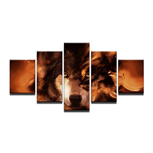 40x60 40x80 40x100cm No Frame 5 Panel Abstract Fire Wolf Wall Art Canvas Painting Home Decoration Modular Wall Picture for Living Room HD Print Unframed
