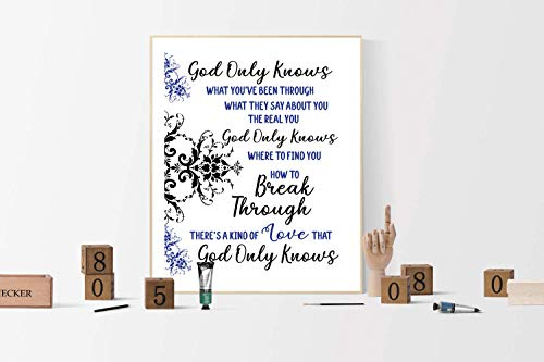 Christian Music Posters - God Only Knows by King and Country | Burn The Ships | Christian Music Art Print | Lyrics Poster | Gospel Praise Worship Song | Faith Art (16x20)