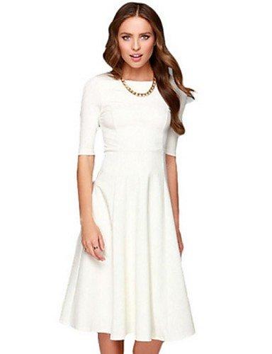 PU&PU Robe Aux femmes Trapèze Street Chic,Couleur Pleine Bateau Midi Polyester , white-l , white-l