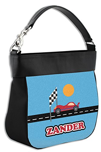Purse amp; Trim Back Leather Genuine Personalized Front Race Car Hobo w 4xqnwCTEa