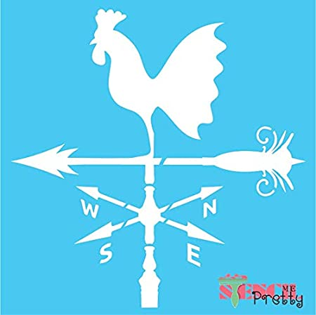 Stencil   Standard Brilliant Blue Color Material Rooster Wind Spinner Compass 11 x 11 Farm Windmill-XS