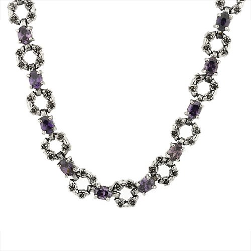 Sterling Silver Cubic Zirconia Amethyst Donut Marcasite Necklace, 16 inch long by Sabrina Silver