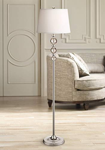 Glimmer Modern Floor Lamp Chrome Clear Faceted Crystal Glass White Fabric Drum Shade For Living Room Reading Bedroom Vienna Full Spectrum