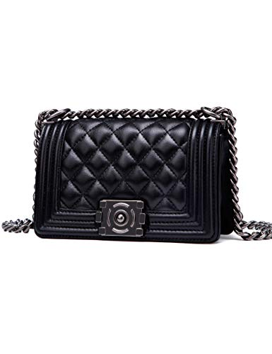 - LA FETIN Women's Quilted Sheepskin Leather Shoulder Bags Classy Designer Small Chain Purse Black