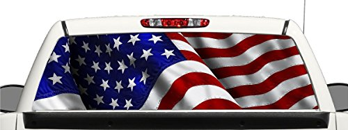 avgrafx Truck SUV American Flag Rear Window Graphic Decal Perforated Vinyl Wrap