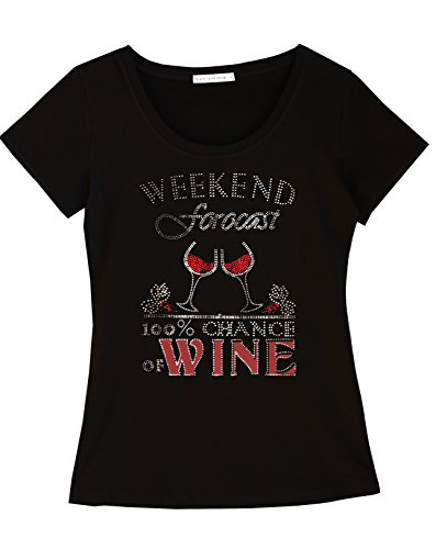 Share Tahoe Weekend Forecast Fun Women T-Shirt with Rhinestones for Wine Lovers (L, US 6)