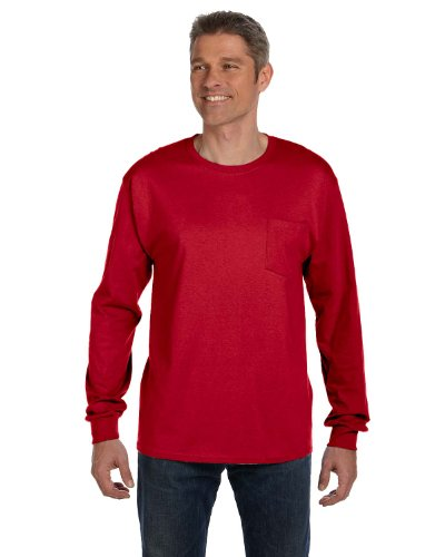 Hanes Tagless Men`s Long-Sleeve T-Shirt with Pocket Deep Red