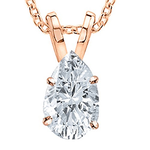 0.5 Carat 14K Rose Gold Pear Diamond Solitaire Pendant Necklace G Color SI2 Clarity