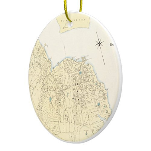 - SheilaNelly Vintage Map of Bar Harbor Maine (1897) Christmas Ornament Ceramic Circle 3 inch