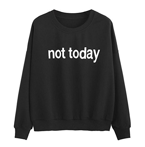 Clearance Napoo Women Not Today Letter Print Solid Sweatshirt Pullovers  L  Black