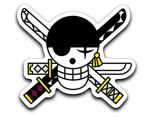 Threads Basket Roronoa Zoro Flag Pirate Hunter Symbol One Piece Inspired Vinyl Decal Sticker -