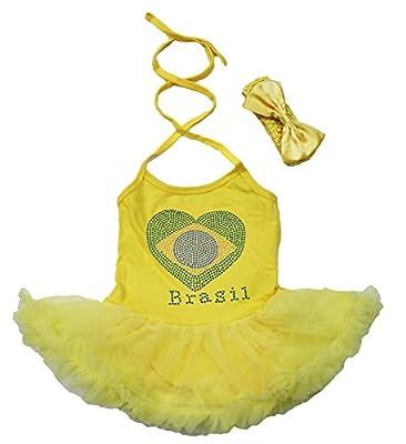 Petitebella Soccer Theme Brazil Flag Heart Yellow Halter Neck Baby Dress Nb-24m