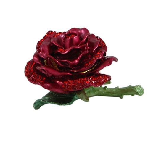 - Red Rose Trinket Box Bejeweled