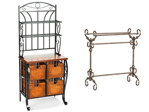 Iron/Wicker Classically Styled Black Finish Baker's Rack Storage Solution with Bonus Bronze Finish Blanket Rack Bundle Set (Hanging Wicker File Basket)