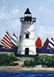 Brandt Point Lighthouse - Fine Art print on canvas stretched Gallery wrap style on sturdy 25 x 35 Inch poplar wood Frame - READY TO HANG
