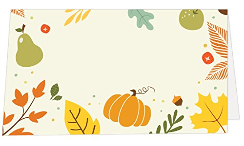 Koko Paper Co Thanksgiving Place Cards with Pumpkin and Autumn Foliage. Pack of 50 Tent Style Cards for Thanksgiving and Other Fall, Autumn Events. No Holder Necessary.