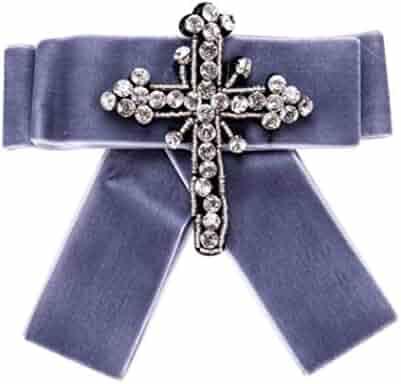 4a66d4da762 HoGadget Women Rhinestone Cross Pre-Tied Bow Tie Brooch Pin Bowknot Necktie  Collar Neck Tie