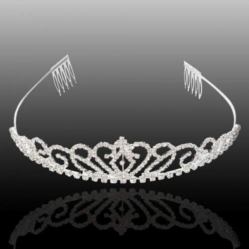 Bseash Silver Crystal Tiara Crown Headband Princess Elegant