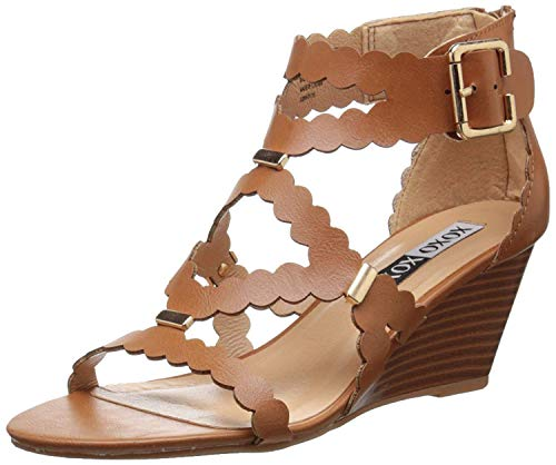 (XOXO Women's Scottie Wedge Sandal, Tan, 8 M US)