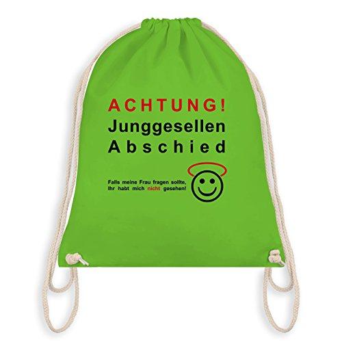Shirtracer JGA Junggesellenabschied - Achtung Junggesellenabschied - Turnbeutel I Gym Bag Hellgrün