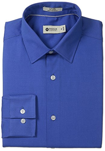 Haggar Men's Pinpoint Oxford Solid Point Collar Regular Fit Long Sleeve Dress Shirt, Medium Blue, 17.5x34/35 -