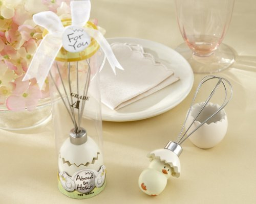 ''About to Hatch'' Stainless-Steel Egg Whisk in Showcase Gift Box - Baby Shower Gifts & Wedding Favors (Set of 48)