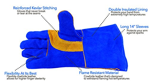 Welding Gloves 14'' for Arc, MIG and TIG Welders with 1 Steel Welding Rod - Heavy Duty Reinforced Kevlar Stitching, Extreme Heat Resistant Double Insulation, One Size - S, M, L, XL, XXL- Blue by Everforge (Image #1)